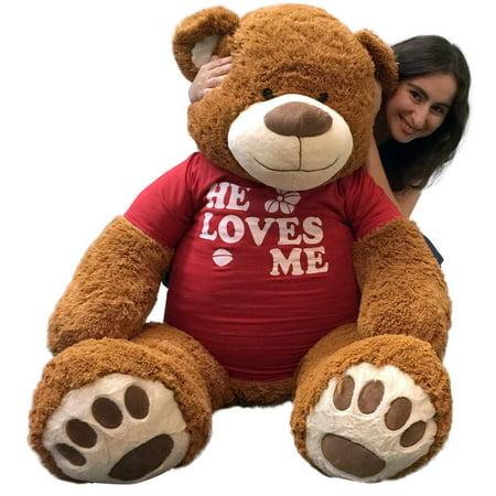 Big Plush 5 Foot Giant Teddy Bear 60 Inch Soft Brown Wears HE LOVES ME T-shirt](Big Plush Teddy Bear)