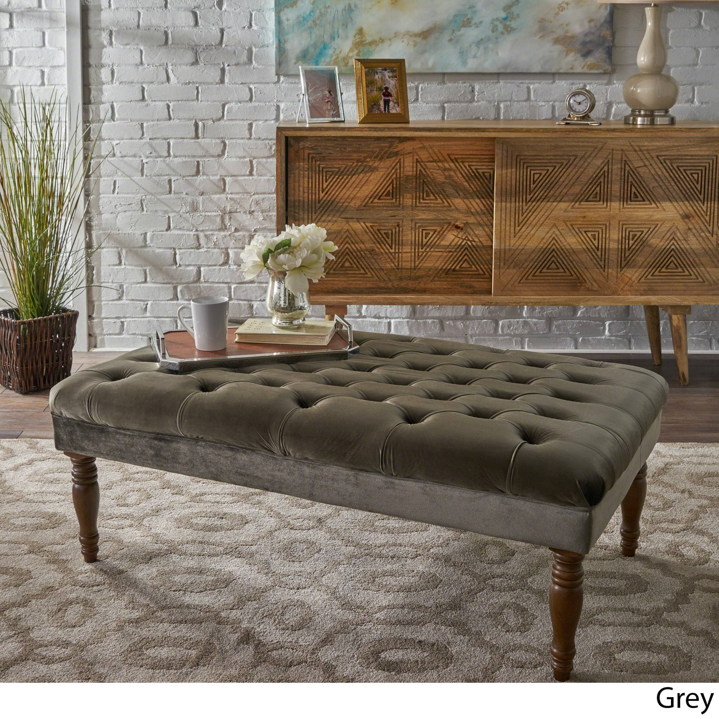 Christopher Knight Home Calendra Rectangle Tufted Velvet Ottoman Bench by