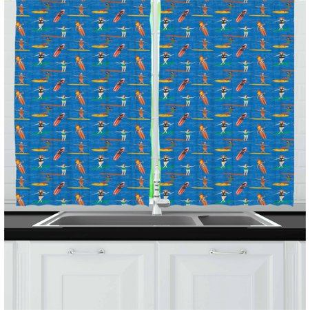 Surf Curtains 2 Panels Set, Woman Surfers in Bikini on Sea Waves Art Deco Style Pattern Summer Activity Hobby, Window Drapes for Living Room Bedroom, 55W X 39L Inches, Multicolor, by Ambesonne