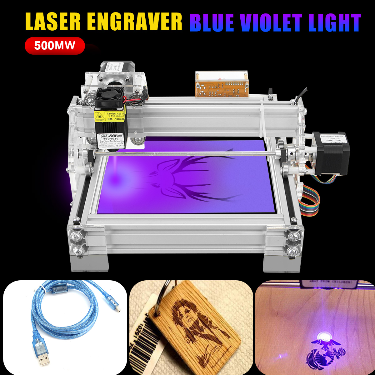 2 Axis 2 Phase 4 Wire 500mw Laser Engraving Machine USB Laser Engraving Marking Machine Paper Wood Cutter DIY Printer Engraver