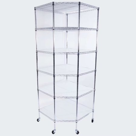 6 Shelves Steel Wire Shelving Rack In Small Space Or Room Corner