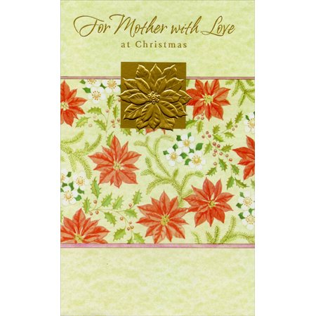 Freedom Greetings Gold Foil Poinsettia: Mother Christmas Card Single Power Foil Card