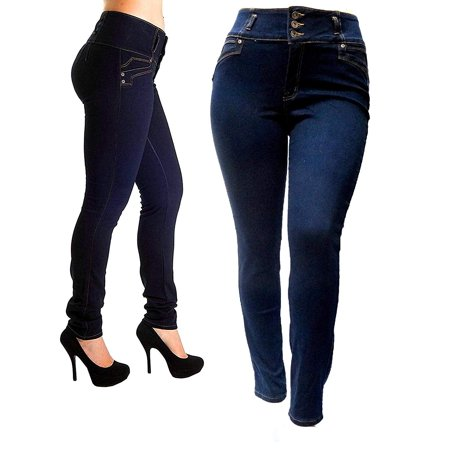 Jack David Womens Plus Size High Waisted BLACK/BLUE Stretch Skinny DENIM JEANS PANTS
