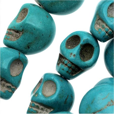 "Dyed Magnesite Gemstone Beads, 13mm Mini Skulls 15"" Strand, 1 Strand, Turquoise"