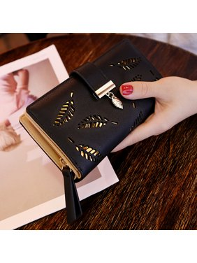 da8ef114bc8b Product Image Women Hollow Out Leaf Long Clutch Purse Card Holder Bifold Leather  Wallet