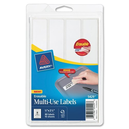 "Avery Erasable Multipurpose Label - 0.88"" Width X 2.88"" Length - 80 / Pack - Rectangle - White (AVE5429)"