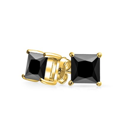 Black Square Cubic Zirconia Princess Cut AAA CZ Stud Earrings For Men Women 14K Gold Plated Sterling Silver More Sizes