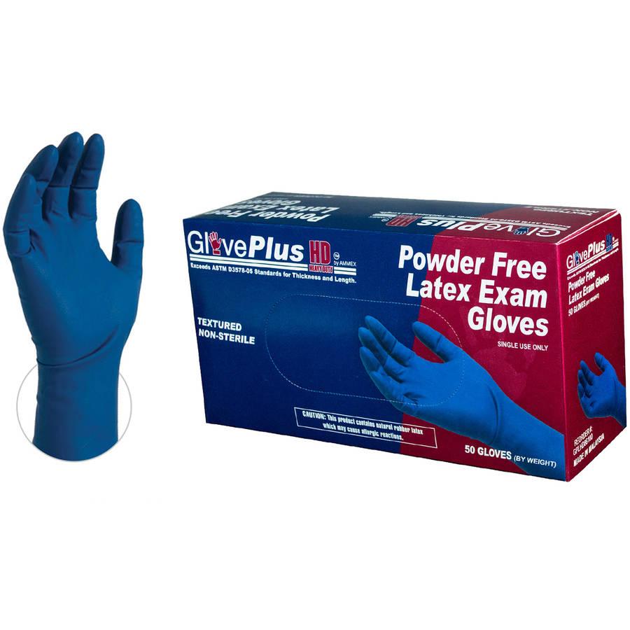 GlovePlus Heavy Duty Blue Latex Exam Disposable Gloves, Medium by AMMEX