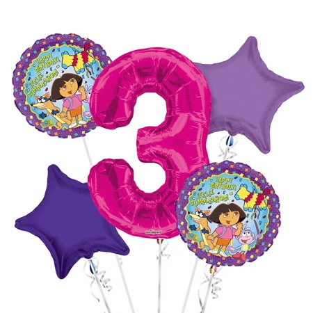 Dora the Explorer Balloon Bouquet 3rd Birthday 5 pcs - Party Supplies, 1 Giant Number 3 Balloon, 34in By Viva