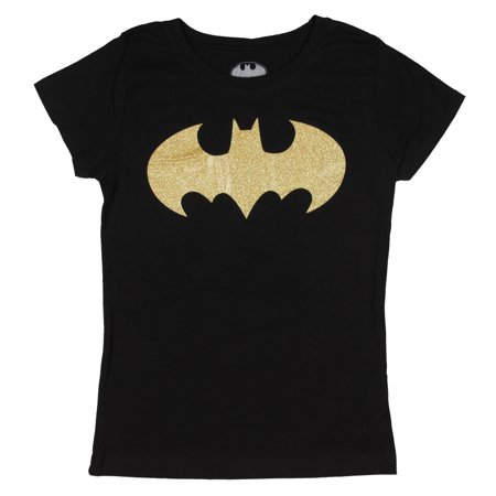 DC Comics Batman Shirt Gold Foil Glitter Graphic Black Costume Logo Girls Top](Dc Comic Girls)