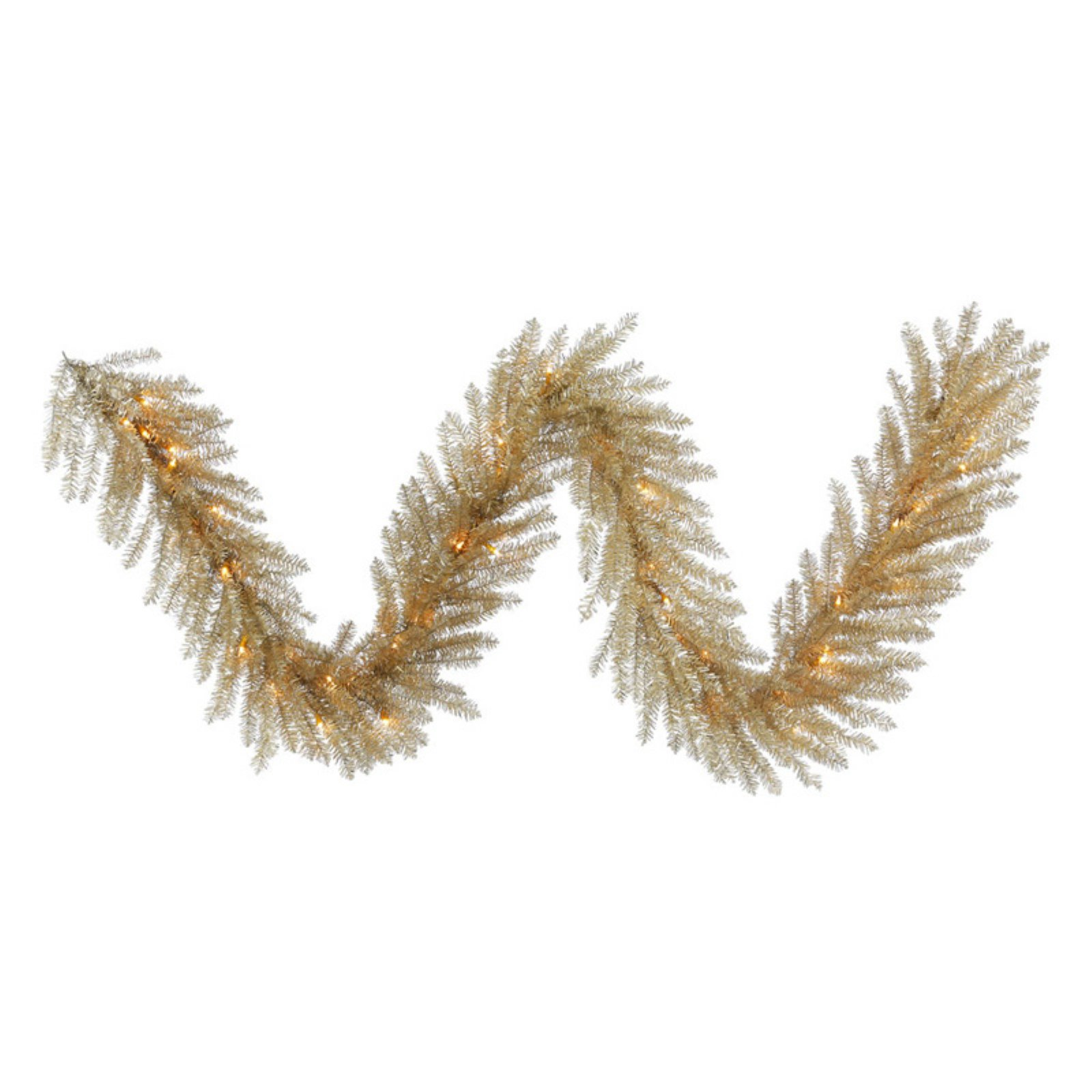 Vickerman 9' Champagne Tinsel Artificial Christmas Garland with 50 Clear Lights