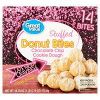 Great Value Stuffed Chocolate Chip Cookie Dough Donut Bites, 14 count, 16.79 oz