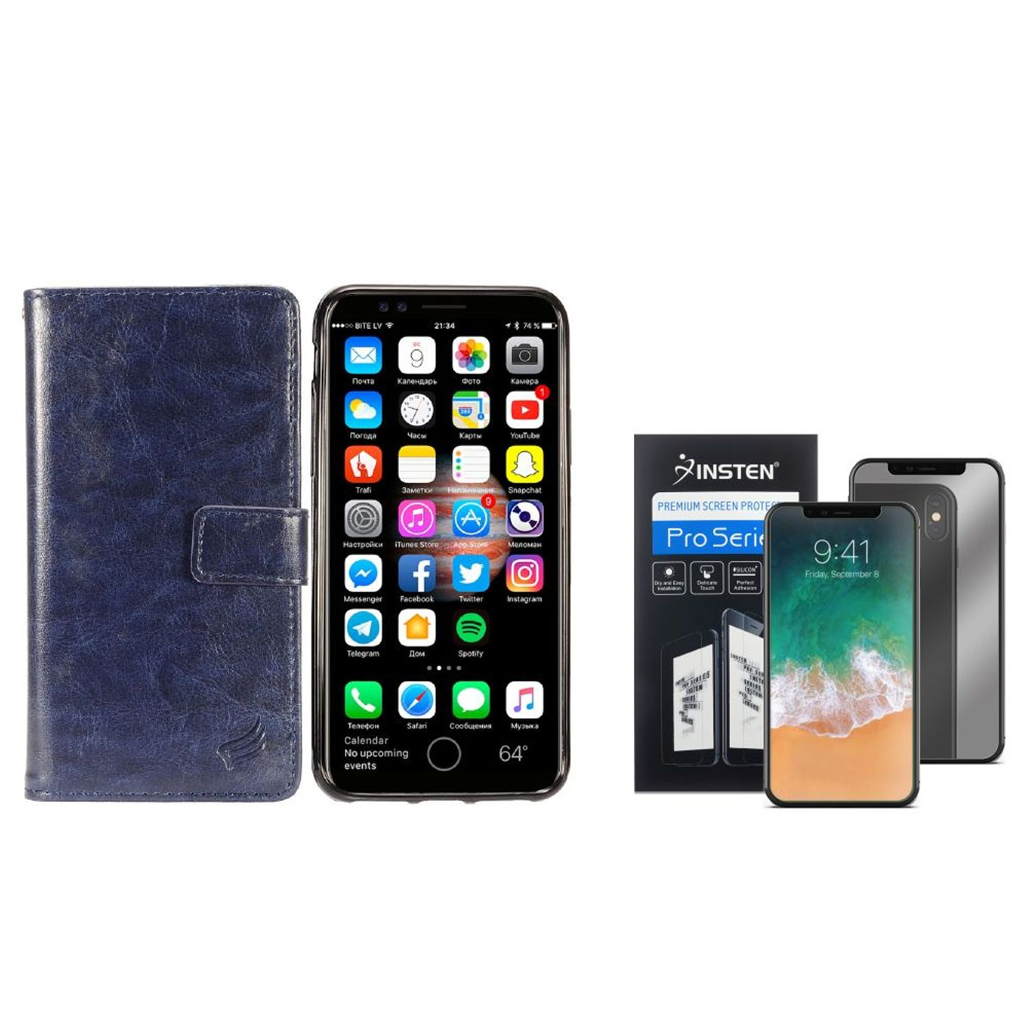 Iphone X Wallet Case With Mirror Protector By Insten Detachable