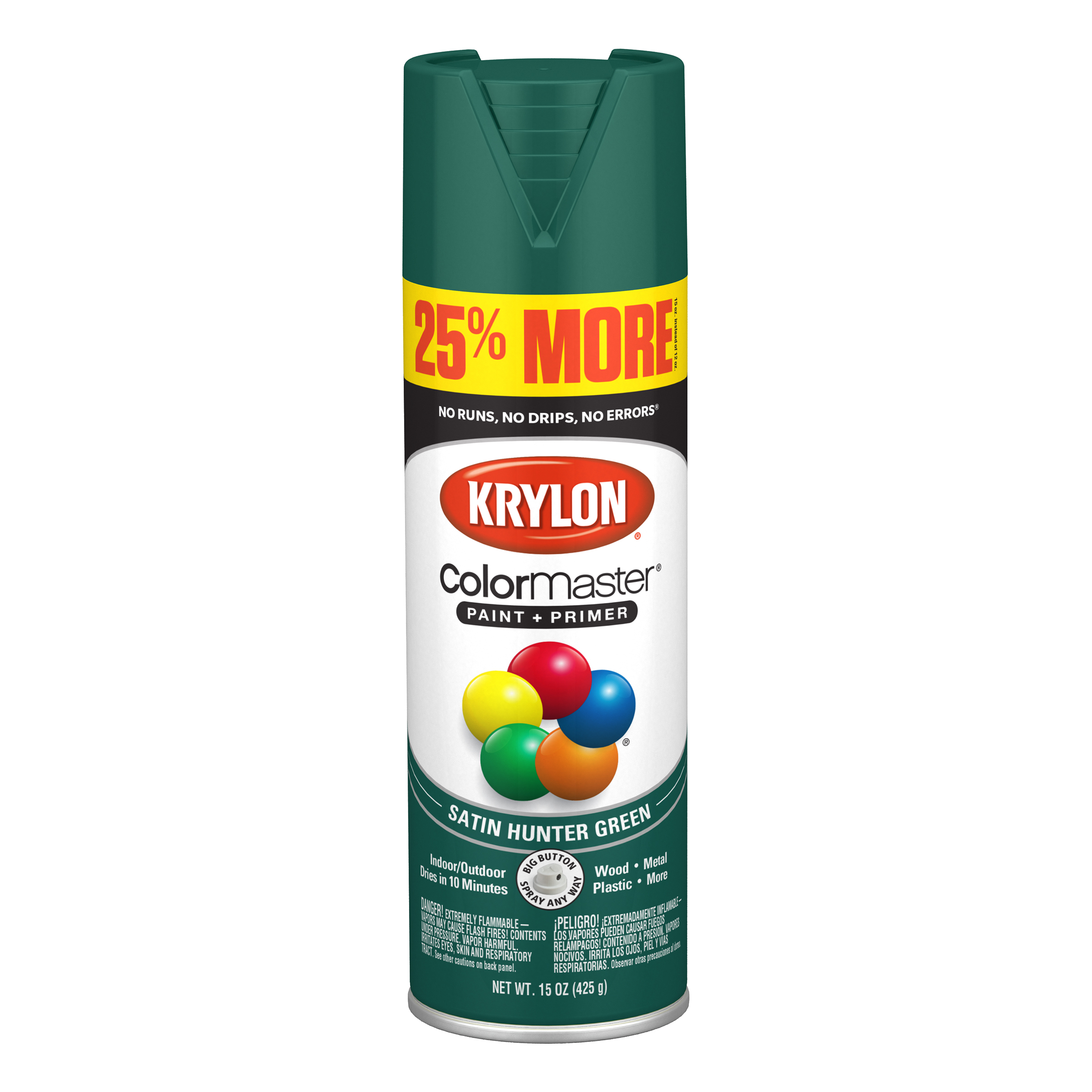 Krylon® ColorMaster Paint + Primer Satin Hunter Green, 15-Oz