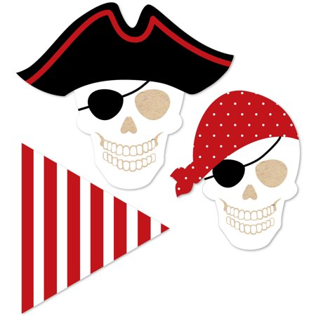 Beware of Pirates - DIY Shaped Pirate Birthday Party Cut-Outs - 24 Count - Pirate Themed Birthday Parties