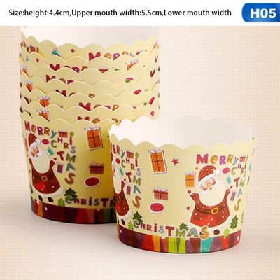 KABOER 50pcs Christmas Series Hard Cake Paper Cup Muffin Cup Disposable Cake Baking Lined Cupcake Muffin Box Suitable for Family ()