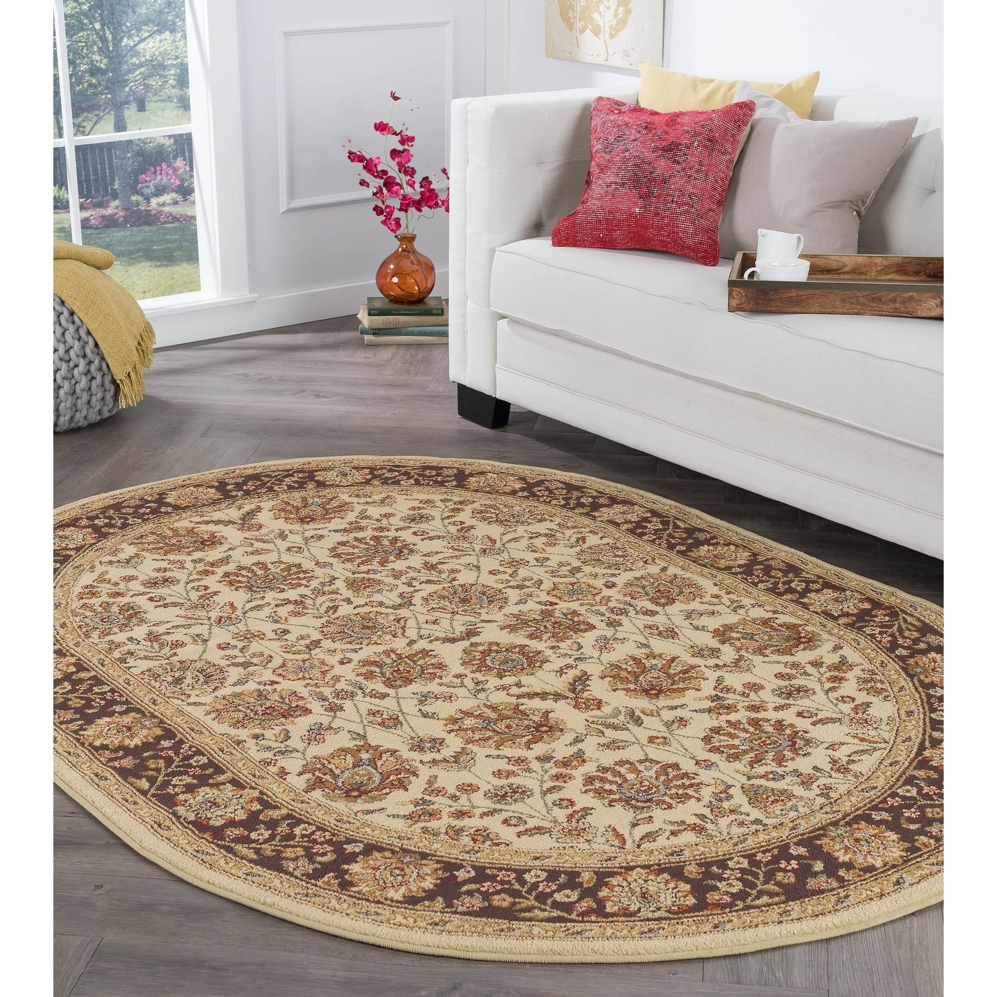 Alise Rugs  Rhythm Transitional Floral Oval Area Rug - 5'3 x 7'3