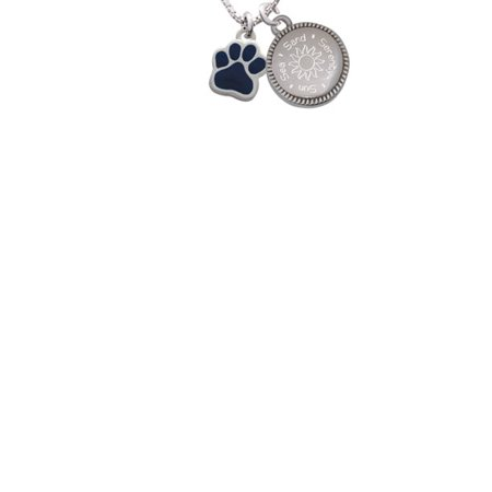 Silvertone Small Navy Blue Paw Sun Sea Sand Serenity Engraved Necklace (Navy Blue Sand)