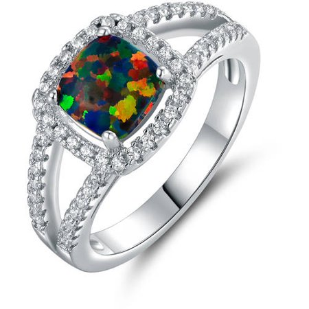 Princess-Cut Accent with Cushion-Cut Fire Black Opal 18kt White Gold-Plated Halo Ring Cushion Cut Opal Ring