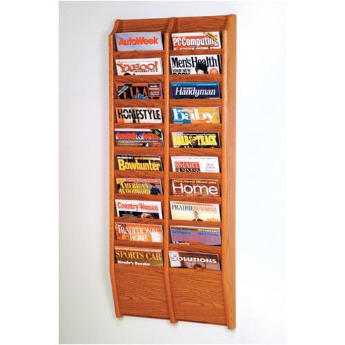 Wooden Mallet 20 Pocket Wall Mount Magazine Rack