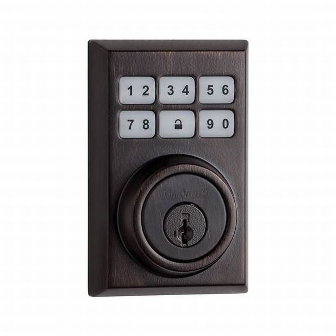 Kwikset 909CNT-11PS Contemporary Smartcode Touchpad Electronic Deadbolt Smart Key Venetian Bronze Finish