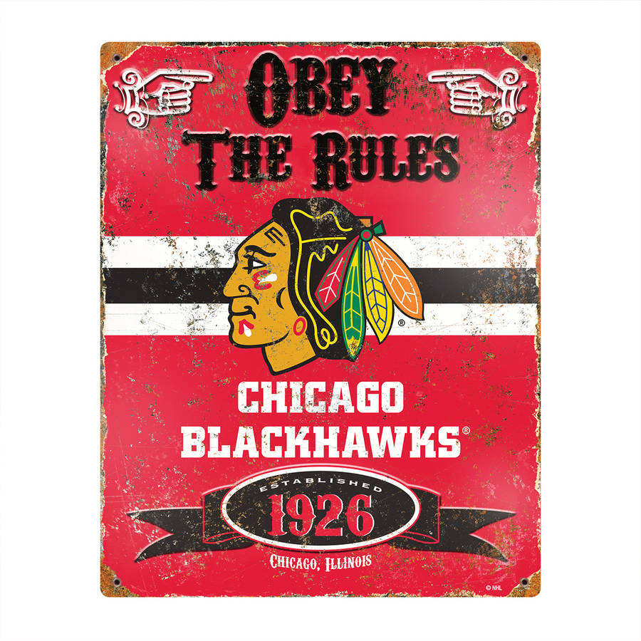 Blackhawks Embossed Metal Sign