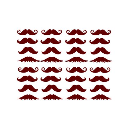 Moustaches Vinyl Decal Sheet Medium Dark Red