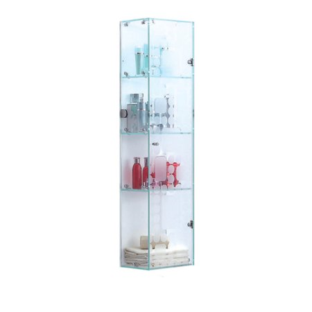 High Quality Tempered Glass Storage Cabinets Locker Crystal White ()
