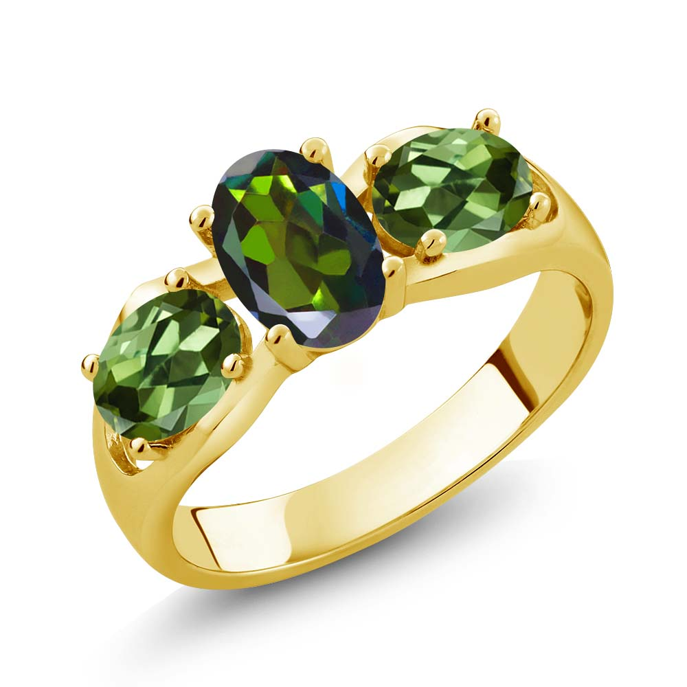 1.80 Ct Tourmaline Green Mystic Topaz Green Tourmaline 18K Yellow Gold Plated Silver Ring by