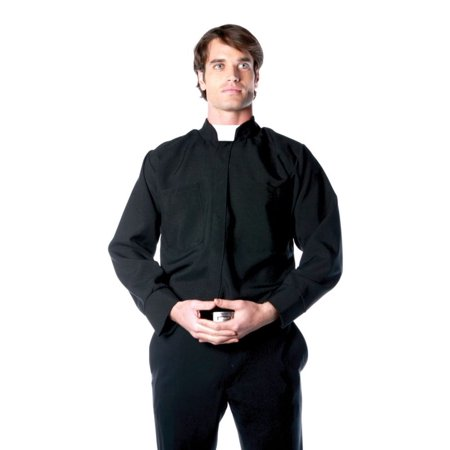 Priest Shirt Men's Adult Halloween Costume - One Size Up to 44 (44 Halloween Games For Adults)