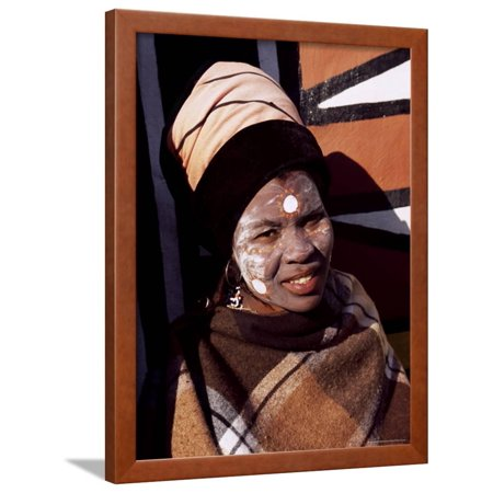 Portrait of a Woman with Facial Decoration, Cultural Village, Johannesburg, South Africa, Africa Framed Print Wall Art By Sergio Pitamitz