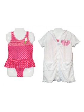 Girls Fuchsia One Piece Swimsuit and Coverup Robe Set 5