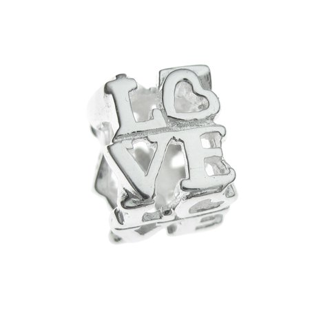 Queenberry Sterling Silver Love You Letter Heart European Style Bead Charm Fits Pandora ()