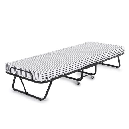 iKayaa Metal Frame Rollaway Single Folding Guest Bed Cot with ...