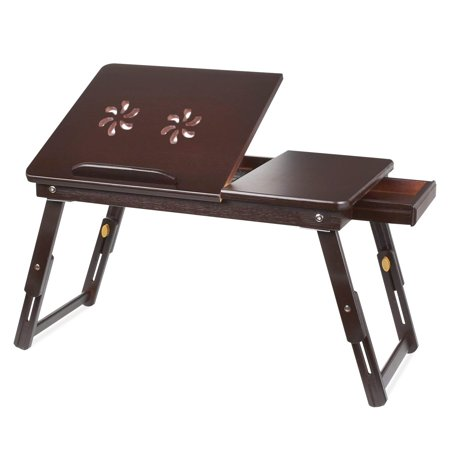 UBesGoo Bamboo Laptop Desk Adjustable Portable Breakfast Serving Bed Tray with Tilting Top Drawer ()
