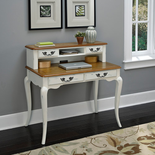 The French Countryside Oak and Rubbed White Student Desk and Hutch