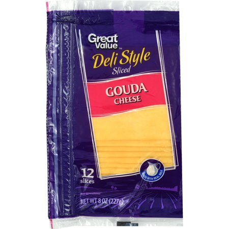 Great Value Deli Style Sliced Gouda Cheese, 8 oz