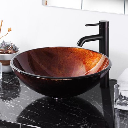 Aquaterior Tempered Glass Round Vessel Sink Pattern Above Counter Bathroom Lavatory Vanity Hotel Bowl