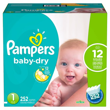 Pampers Baby-Dry Disposable Diapers Size 1 252 Count Economy Pack