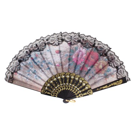 Unique Bargains Ladies Multicolor Nylon Chinese Japanese Foldup Hand Fan w Metal Loop](Chinese Hand Fan)