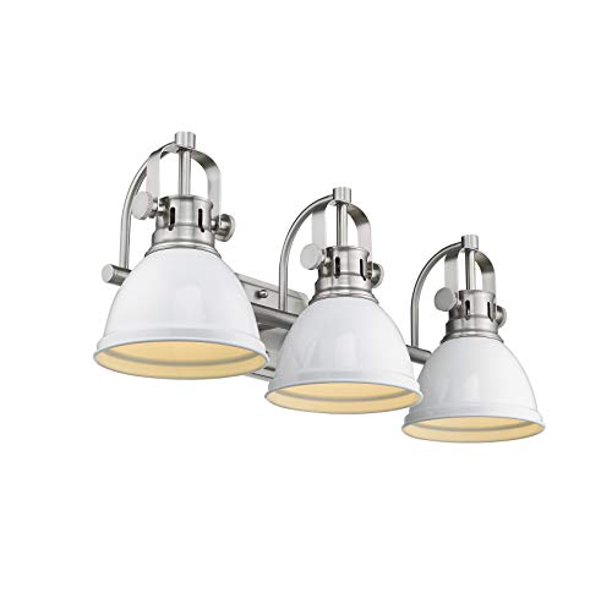Emliviar 3 Light Bath Vanity Light Fixture Bathroom Wall Lighting Fixtures White Finish With Metal Shade 4054b A Walmart Com Walmart Com