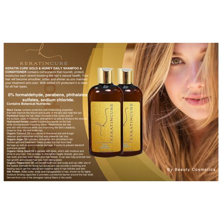 Sulfate Free Keratin Cure Gold and Honey Brazilian Daily Shampoo Conditioner (Best Keratin Shampoo And Conditioner Philippines)