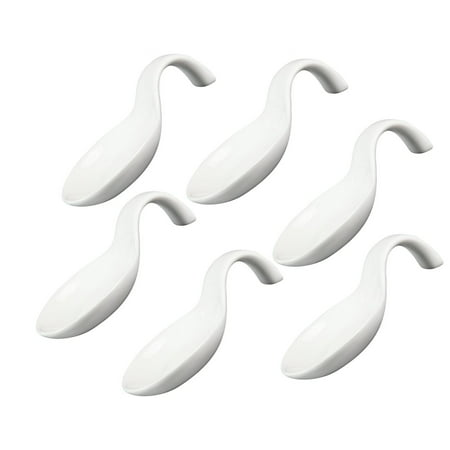 White Porcelain Appetizer / Tasting Spoons - Set of 6