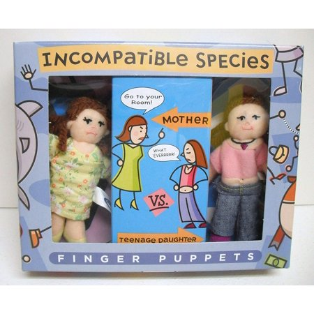 Incompatible Species Mother Vs. Teenage Daughter Finger Puppets, Set of 2 Finger Puppets By Mary Meyer Ship from