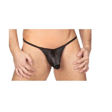 Embroidered Satin Thongs - Body Aware Sleek Satin Mini Thong for Men