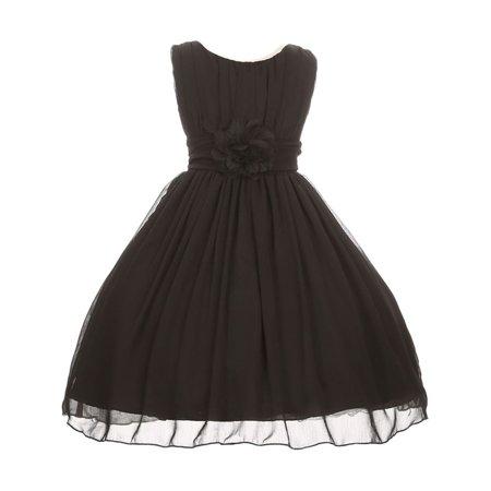 Good Girl Girls Black Floral Chiffon Junior Bridesmaid Easter Dress