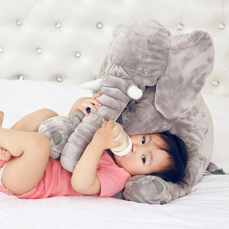 Amyhomie Children Toddler Stuffed Elephant Big Cushion Soft Plush Pillow Nursery Toy Doll Best Gift 60Cm 24Inch Gray