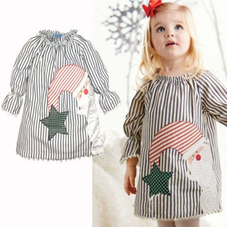 0-5Y Baby Girls Kids Casual Xmas Cotton Tutu Dress Clothes Christmas Santa Claus](Kids Santa Dress)