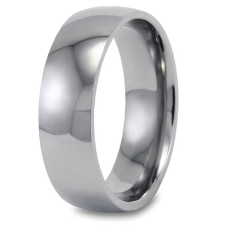 High Dome Ring (High Polished Finish Titanium Domed Band Ring (8mm))