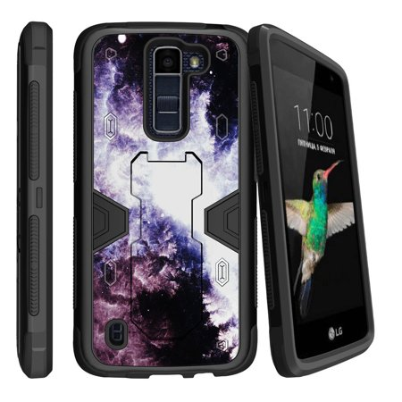 LG K7 | LG Tribute 5 Dual Layer Shock Resistant MAX DEFENSE Heavy Duty Case with Built In Kickstand - Purple Space